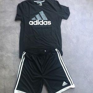 Adidas Kids 14-16yr set shorts and t-shirt black